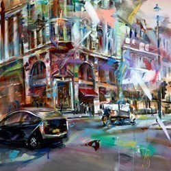 Quiet Moment in Piccadilly by Marijus Jusionis -  sized 32x31 inches. Available from Whitewall Galleries